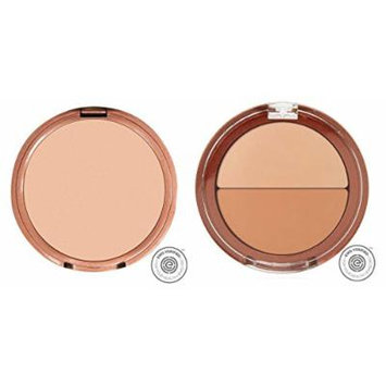 Mineral Fusion Pressed Powder Foundation Cool 2 and Mineral Fusion Compact Concealer Duo Cool Shade Bundle with Mango Juice Extract, White Tea Leaf Extract, and Shea Butter, 0.32 oz. and 0.11 oz. each