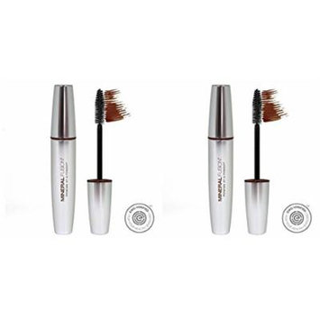 Mineral Fusion Chestnut Volumizing Mascara (Pack of 2). With Leaf Extract, White Tea, Pomegranate and Vitamin E