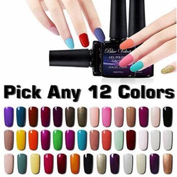 Gel Polish Set Blue Velvet Pick Any 12 Colors Soak off Gel Nail Polish Kit Cured with UV LED Nail Lamp Dryer