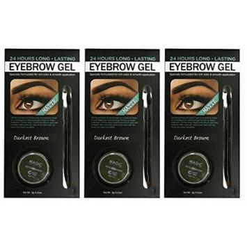 (PACK OF 3) Magic Collection 24 Hour Matte Waterproof Eyebrow Gel Pomade [u] #DARKEST BROWN