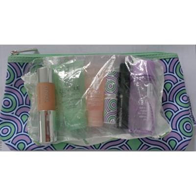 Clinique 7 piece Beauty set - Plum Pop Pop Lip, makeup remover, liqiud facial soap, high impact mascara, moisture surge, intense ivory foundtion + bag