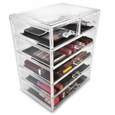 Acrylic Cosmetics Makeup and Jewelry Storage Case Display, 4 Large and 2 Small Drawers