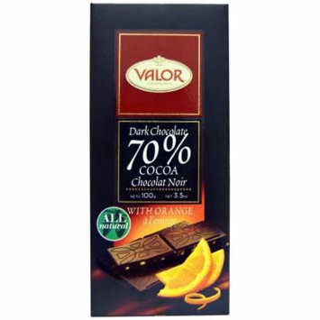 Valor, Dark Chcocolate, 70% Cocoa, With Orange, 3.5 oz(pack of 6)