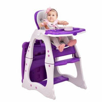 3 in 1 Baby High Chair Convertible Play Table Seat Booster Toddler Feeding Tray Purple
