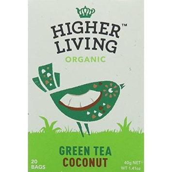 Higher Living, Organic Green Coconut Tea, 20 Count Tea Bags, Pack of 4