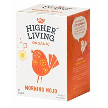 Higher Living, Organic Morning Mojo Tea, 15 Count Tea Bags, Pack of 4