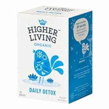 Higher Living, Organic Daily Detox Tea, 15 Count Tea Bags, Pack of 4