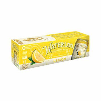 Waterloo Sparkling Water Lemon Fruit Flavor Zero Calorie No Sugar 12oz Cans (Pack of 12)