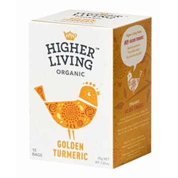 Higher Living, Organic Golden Turmeric Tea, 15 Count Tea Bags, Pack of 4