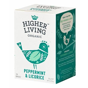 Higher Living, Organic Peppermint & Licorice Tea, 15 Count Tea Bags, Pack of 4