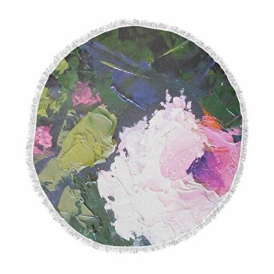 KESS InHouse Carol Schiff Textured Pink Rose Green Painting Round Beach Towel Blanket