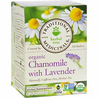 Traditional Medicinals Organic Chamomile with Lavender Herbal Tea - Caffeine Free - Case of 6 - 16 Bags-95%+ Organic -