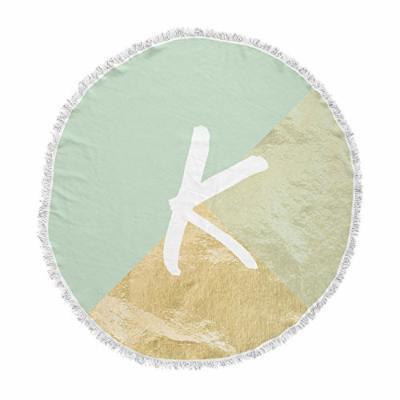 KESS InHouse Original Monogram Foil Mint Round Beach Towel Blanket