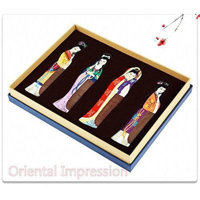 Hand painted Wooden Comb,Chinese style features, The Four Beauties,Party Gift,Meeting Gift,Featured Gift,Gift Package,Collection