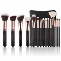 Makeup Brushes Rose Gold, Docolor 15 Pcs Classic Goat Bristles Makeup Brush Set Kit with Cosmetic Case