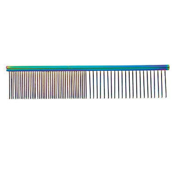 Rainbow Color Greyhound Combs for Dog Grooming Tools 3 Size Sets Available Too (Rainbow Face & Finishing)