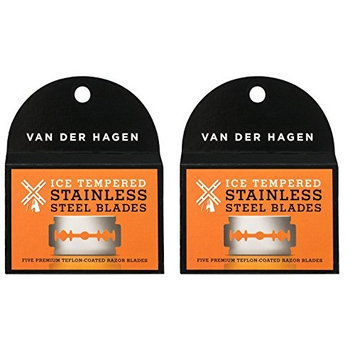 Van Der Hagen Stainless Steel Double Edge Razor Blades 5 Blades (Pack of 2) + FREE Travel Toothbrush, Color May Vary