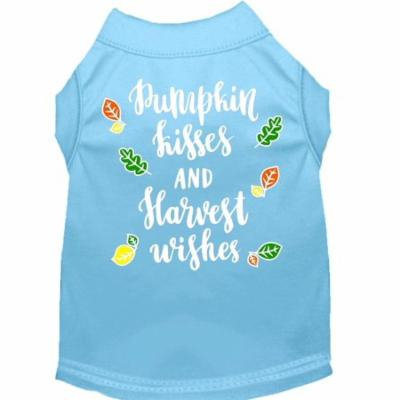 Pumpkin Kisses Screen Print Dog Shirt Baby Blue Sm (10)