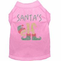 Santa's Elf Rhinestone Dog Shirt Light Pink Xs (8)