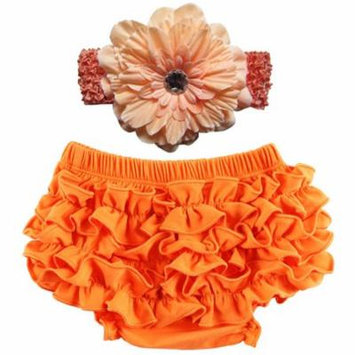 Baby Girl Cute Ruffle Bloomers Diaper Covers with Flower Headband (Orange, L)