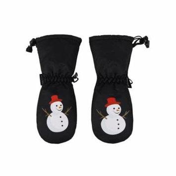 Boys Snowman Print Waterproof Thinsulate Lined Ski Gloves, Black, XS