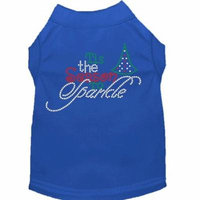 Tis The Season To Sparkle Rhinestone Dog Shirt Blue Xl (16)