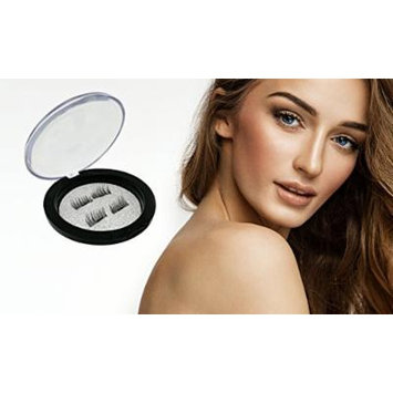 Magnetic False Eyelashes - Fiber Reusable 3D Thin - Fake Lashes Extension for a Natural, Attractive Look (4 Pieces), Ideal for Deep Set & Round Eyes