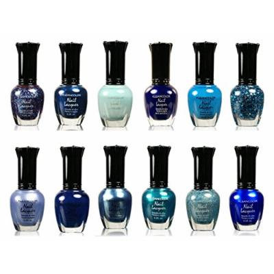 Kleancolor Assorted Nail Colors Set Perfect Gift For Loved One Pastel, Metallic, Blue, Pink, Neon, And Purple (12 PIECES, BLUE)