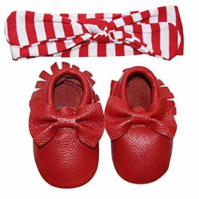 Unique Baby Bow Moccasins and Striped Headband Set (Large, Red & White (Red Moccasin))