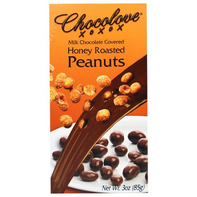 Chocolove, Milk Chocolate Covered Honey Roasted Peanuts, 3 oz(pack of 6)