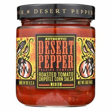 Desert Pepper Trading Medium Hot Roasted Tomato Chipotle Corn Salsa - Case of 6 - 16 oz.