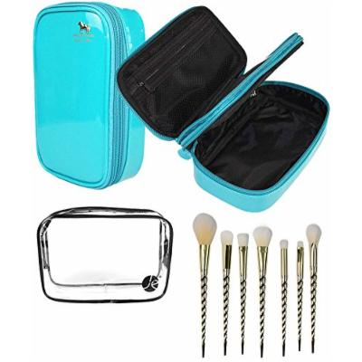 JE (3 PCS SET) Blue 2 Layers Makeup Bag + (1 PCS) Clear Small PVC Cosmetic Bag + (7 PCS Set) Gold Unicorn Pro Brush Set