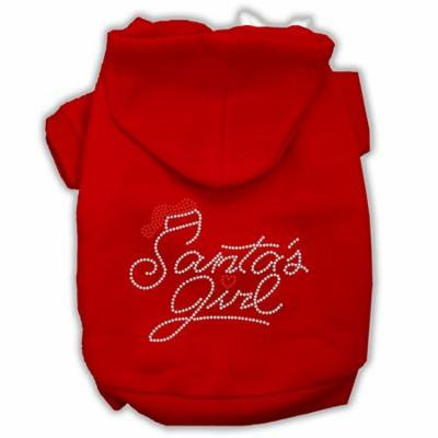 Santa's Girl Rhinestone Dog Hoodie Red Xxxl(20)
