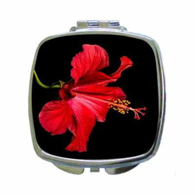 Red Hibiscus Hawaiin Flower Print Design - Square Shaped Compact Travel Pocket Size Beauty Mirror