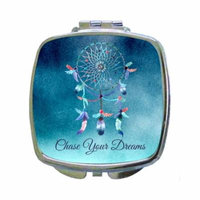 Chase Your Dreams - Blue Watercolor Grunge Dreamcatcher Expression - Compact Square Face/Makeup Mirror