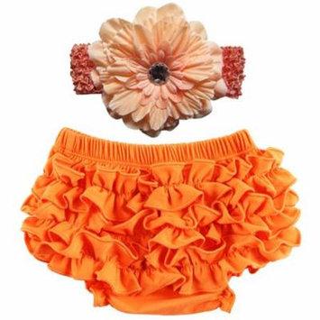 Baby Girl Cute Ruffle Bloomers Diaper Covers with Flower Headband (Orange, S)