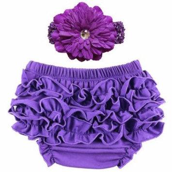 Baby Girl Cute Ruffle Bloomers Diaper Covers with Flower Headband (Dark Purple, M)