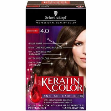 Schwarzkopf Keratin Color Anti-Age Hair Color, Cappuccino [4.0] 1 ea (Pack of 4)