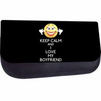Keep Calm and I Love My Boyfriend - Medium Sized Nylon-Lined Cosmetic Case - Love/ Valentine's Day Gift