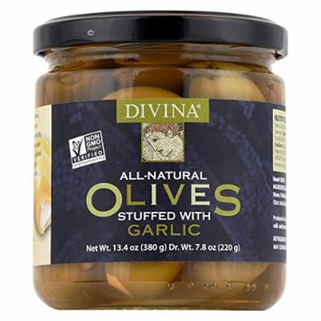 Divina Green Olives Stuffed with Garlic - Case of 6 - 7.8 oz.
