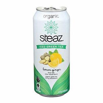 Steaz Lightly Sweetened Green Tea - Lemon Ginger - Case of 12 - 16 Fl oz.