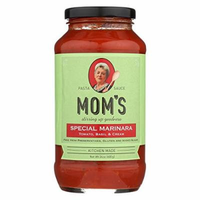 Mom's Pasta Sauce Special Marinara Sauce - Tomato, Basil and Cream - Case of 6 - 24 Fl oz.