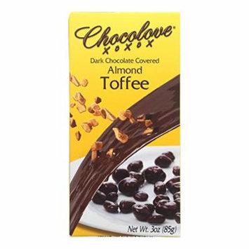 Chocolove Xoxox Dark Chocolate Covered Almond Toffee - Case of 6 - 3 oz.