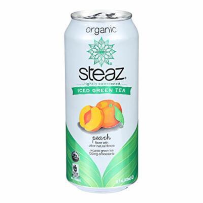 Steaz Lightly Sweetened Green Tea - Peach - Case of 12 - 16 Fl oz.