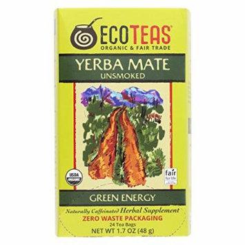 Ecoteas Organic Yerba Mate Unsmoked Green Energy Tea Bags - Case of 6 - 24 Bags