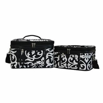World Traveler Women's 2-Piece Cosmetic Case Set, Black Trim Damask