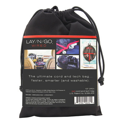 Lay N Go Llc WIRED Polyester and Machine Washable Cord Organizer Bag with Velcro Pockets