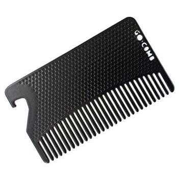 Go Comb - Metal Mens Wallet Size Comb + Bottle Opener - Hair and Beard Slim Pocket Comb - Credit Card Comb - Matte Black