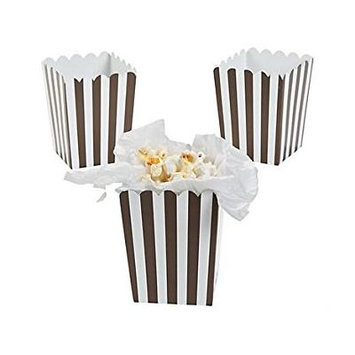 Mini Chocolate Brown Striped Popcorn Boxes (Pack of 12)