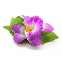 Hawaii Luau Party Artificial Fabric Single OrchidHair Clips Purple White